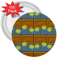 Yellow Flower Floral Sunflower 3  Buttons (100 Pack)