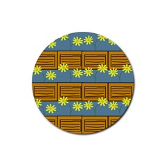 Yellow Flower Floral Sunflower Rubber Round Coaster (4 Pack)