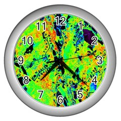 Bow Canopy Height Satelite Map Wall Clocks (silver)