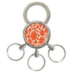 Basketball Ball Orange Sport 3 Ring Key Chains