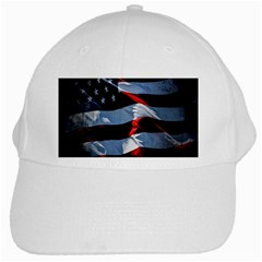 Grunge American Flag Background White Cap