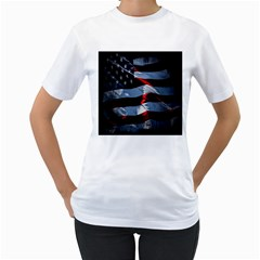 Grunge American Flag Background Women s T Shirt (white) (two Sided)