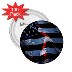 Grunge American Flag Background 2.25  Buttons (100 pack)