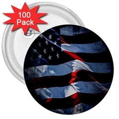 Grunge American Flag Background 3  Buttons (100 Pack)