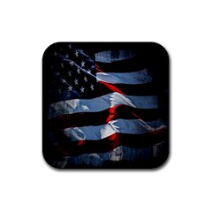 Grunge American Flag Background Rubber Square Coaster (4 Pack)