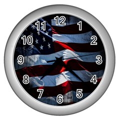 Grunge American Flag Background Wall Clocks (silver)