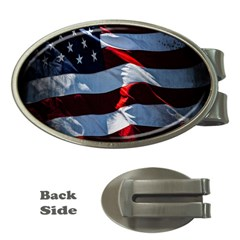 Grunge American Flag Background Money Clips (Oval)