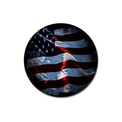 Grunge American Flag Background Magnet 3  (Round)