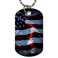 Grunge American Flag Background Dog Tag (Two Sides)