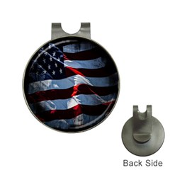 Grunge American Flag Background Hat Clips With Golf Markers