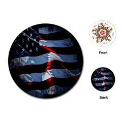 Grunge American Flag Background Playing Cards (round)