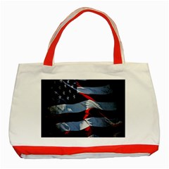 Grunge American Flag Background Classic Tote Bag (Red)