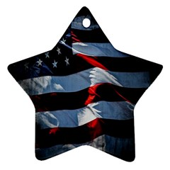 Grunge American Flag Background Star Ornament (two Sides)