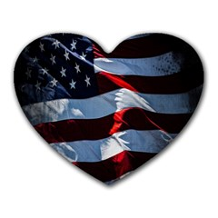 Grunge American Flag Background Heart Mousepads