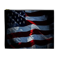 Grunge American Flag Background Cosmetic Bag (xl)