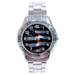 Grunge American Flag Background Stainless Steel Analogue Watch