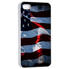 Grunge American Flag Background Apple iPhone 4/4s Seamless Case (White)