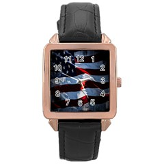 Grunge American Flag Background Rose Gold Leather Watch