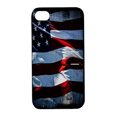 Grunge American Flag Background Apple iPhone 4/4S Hardshell Case with Stand