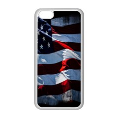 Grunge American Flag Background Apple iPhone 5C Seamless Case (White)