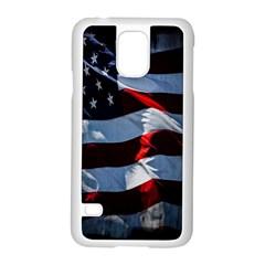 Grunge American Flag Background Samsung Galaxy S5 Case (White)