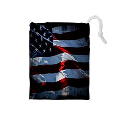 Grunge American Flag Background Drawstring Pouches (medium)