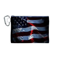 Grunge American Flag Background Canvas Cosmetic Bag (M)