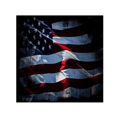 Grunge American Flag Background Small Satin Scarf (Square)