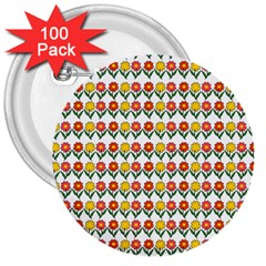 Flowers 3  Buttons (100 pack)