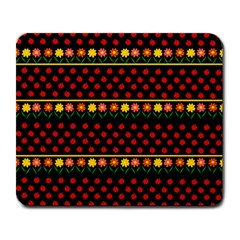 Ladybugs and flowers Large Mousepads