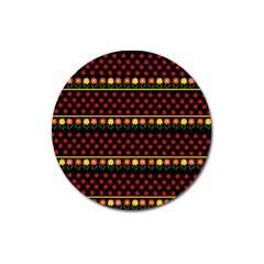 Ladybugs and flowers Magnet 3  (Round)