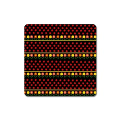 Ladybugs and flowers Square Magnet