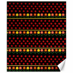 Ladybugs and flowers Canvas 8  x 10