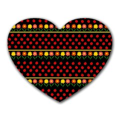 Ladybugs and flowers Heart Mousepads