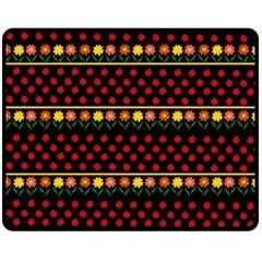Ladybugs and flowers Fleece Blanket (Medium)