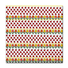 Ladybugs and flowers Tile Coasters