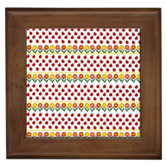 Ladybugs and flowers Framed Tiles