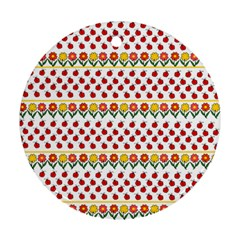 Ladybugs and flowers Round Ornament (Two Sides)