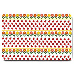 Ladybugs and flowers Large Doormat