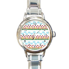 Ladybugs and flowers Round Italian Charm Watch