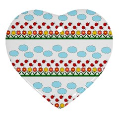 Ladybugs and flowers Ornament (Heart)
