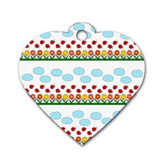 Ladybugs and flowers Dog Tag Heart (Two Sides)