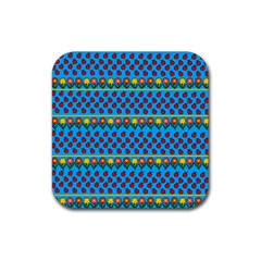 Ladybugs and flowers Rubber Square Coaster (4 pack)