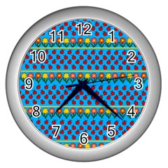 Ladybugs and flowers Wall Clocks (Silver)