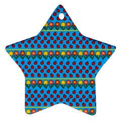 Ladybugs and flowers Star Ornament (Two Sides)