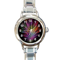 Fractal In Many Different Colours Round Italian Charm Watch