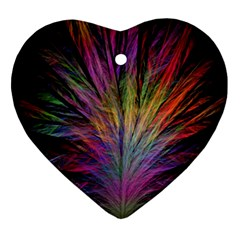 Fractal In Many Different Colours Ornament (heart)