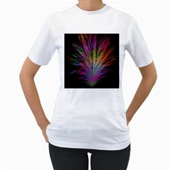 Fractal In Many Different Colours Women s T-Shirt (White) (Two Sided)