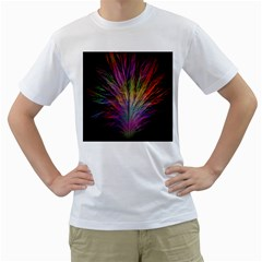 Fractal In Many Different Colours Men s T Shirt (white) (two Sided)