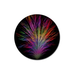 Fractal In Many Different Colours Rubber Round Coaster (4 Pack)